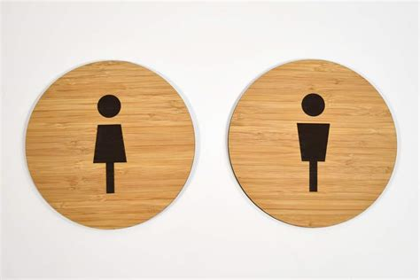 Modern Bathroom Signs modern wood restroom signs contemporary wooden bathroom