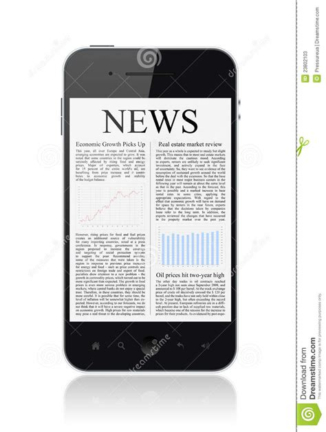 mobile phone news news on apple iphone mobile smart phone isolated stock