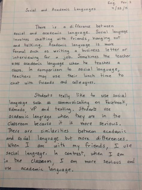 Two Paragraph Essay by Academic And Social Language Marlton School For The Deaflos Angeles