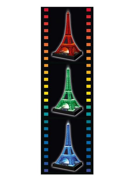 eiffel tower puzzle with lights 3d puzzle eiffel tower by night with led ravensburger