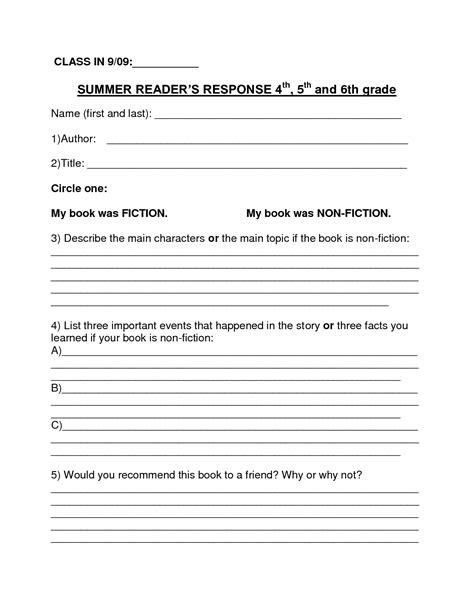 book report format 6th grade book report template summer book report 4th 6th grade