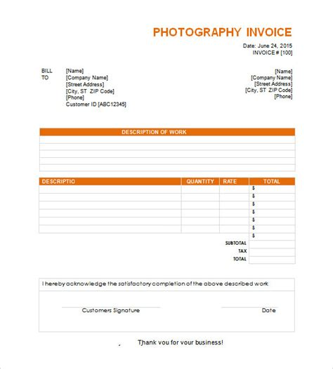 invoice photography template sle invoice template free documents in word