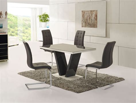 High Gloss Dining Table Set Grey Glass High Gloss Dining Table And 4 Chairs Set Homegenies