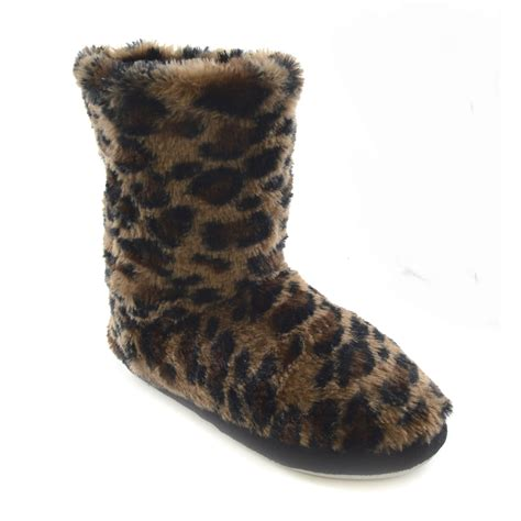 house slipper booties womens ladies faux fur leopard print indoor shoes house