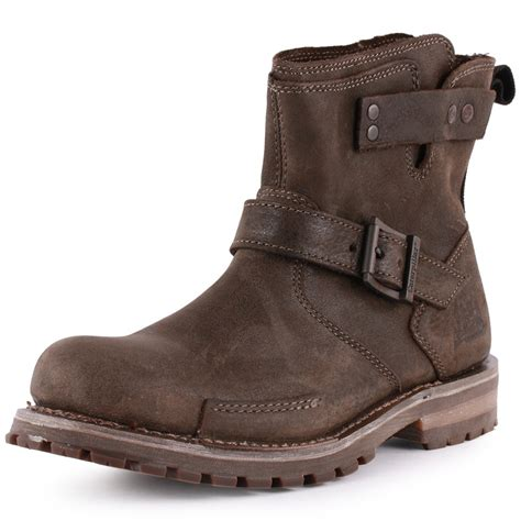mens leather motorcycle boots for sale caterpillar vern mens slip on leather biker boots black