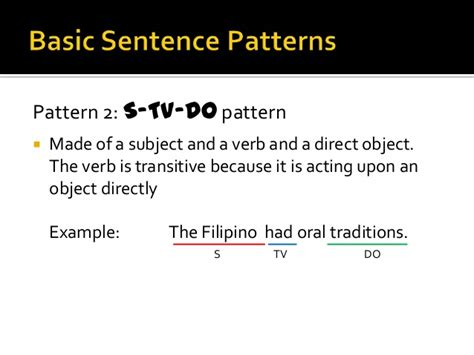 Exle Of Basic Sentences Pattern | sentence pattern exercises ppt free worksheets 187 pattern