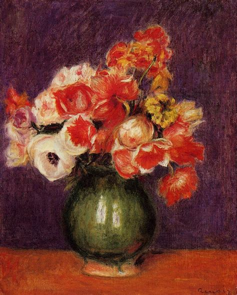 Paintings Of Flowers In A Vase by Flowers In A Vase 1901 Painting Auguste Renoir