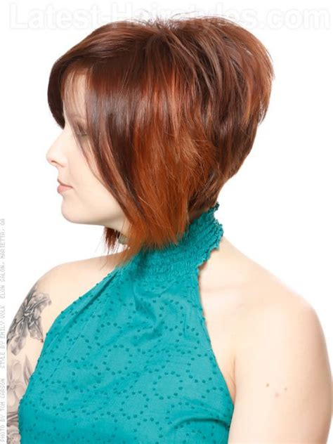 shaggy hairstyles longer in the front mod bob shag with highlights and shaped back i like the