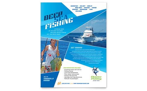 fishing charter guide flyer template design