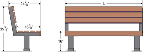 standard bench dimensions complete wood park park bench plans commercial one profile