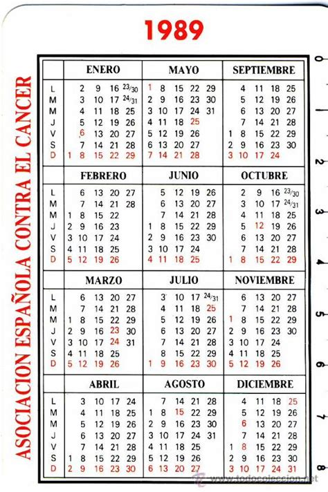 Calendario De 1989 Calendario 1989 Asociacion Espa 241 Ola Contra El Comprar