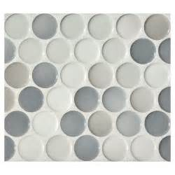 Blue Mosaic Tiles Bathroom by Penny Round Mosaic Graphite Blend Gloss Complete Tile