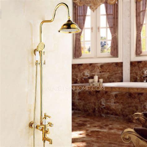 european natural jade electroplated brass gold shower
