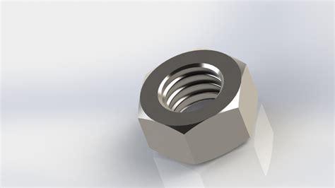 solidworks tutorial nut bolt nut solidworks 3d cad model grabcad