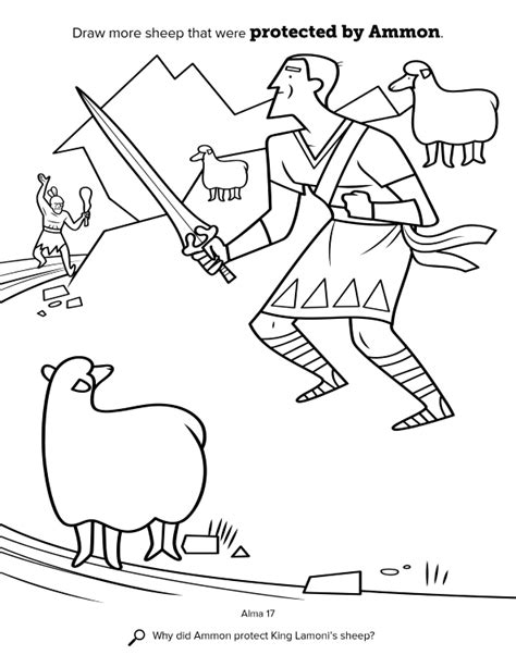 lds coloring pages king benjamin ammon and the king s sheep