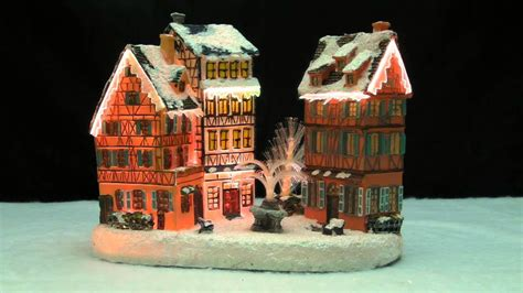 where to buy christmas village houses christmas village house with water fountain led fiber optic 9339 youtube