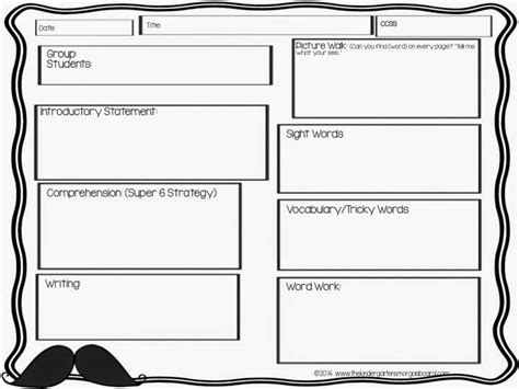 reading planning template a kindergarten smorgasboard classroom guided