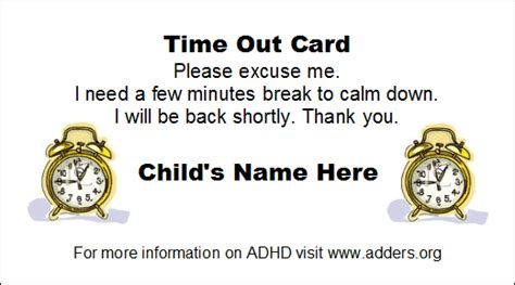 time out cards available from adders org