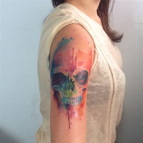 watercolor skull tattoo watercolor ideas you can benefit from lovelytattoo55
