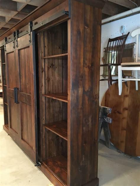 open shelves barn door entertainment cabinet furniture