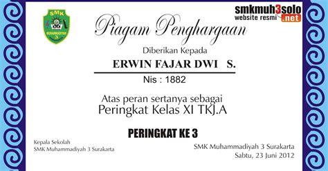 Cakra Cakap Dan Juara Kelas 4 piagam penghargaan kepada peserta didik yang berprestasi smk muhammadiyah 3 surakarta heri