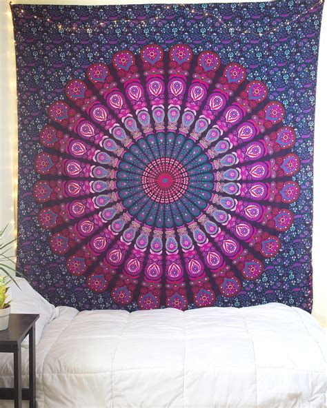 light pink and blue tapestry purple pink mandala tapestry the bohemian shop