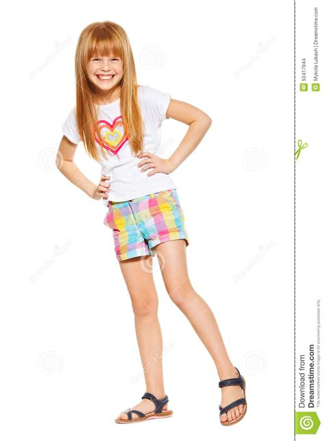 little girl up shorts full length a cheerful little girl with red hair in shorts
