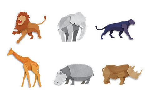 Origami Zoo Animals - 30 free animals vectors illustrator tutorials tips