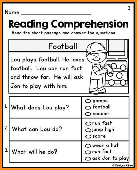 10 kindergarten reading comprehension worksheets kylin