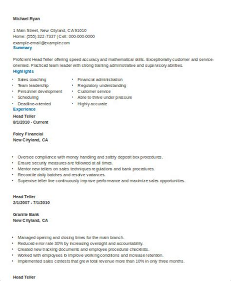 sle teller resume 7 exles in word pdf