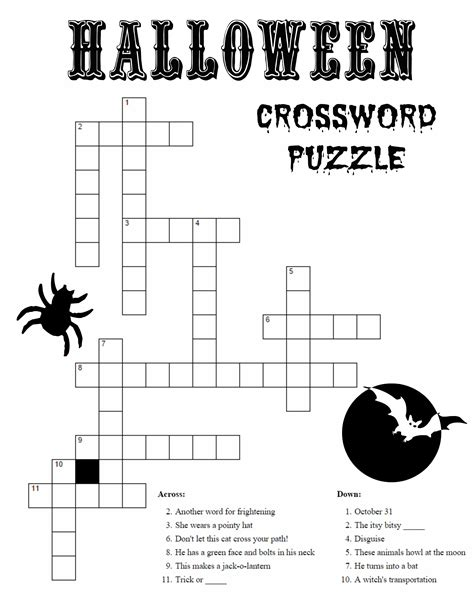 4 best images of halloween easy printable crossword printable halloween activity sheets word search and