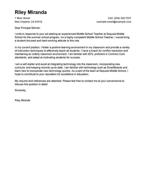 leading professional summer teacher cover letter examples resources myperfectcoverletter