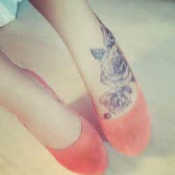 foot tattoos roses on foot i like especially with those heels