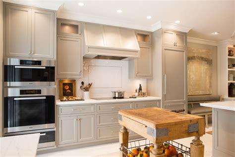 cabinet paint color is river reflections from benjamin moore beautiful warmer gray chelsea elegant townhome in pasadena traditional kitchen los