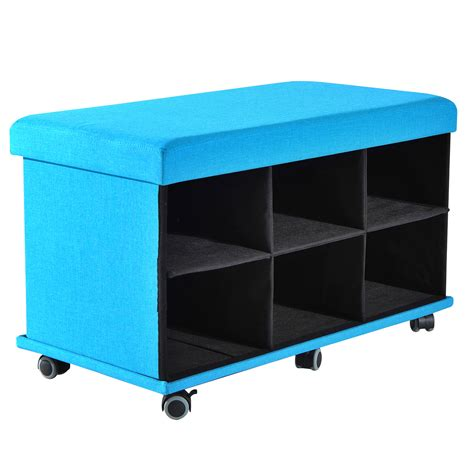 Storage Ottoman On Wheels Folding Storage Organizer Ottoman Bench Stool Seat Footrest W Drawers Wheel Blue
