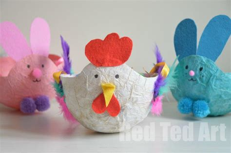 Paper Easter Crafts - easter craft basket tissue paper mache ted s