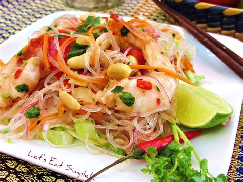 yum mama boat noodle yum woon sen thai noodles salad with shrimp recipe