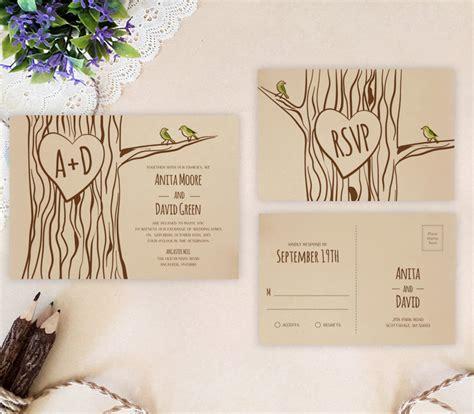 tree themed wedding invitations lemonwedding