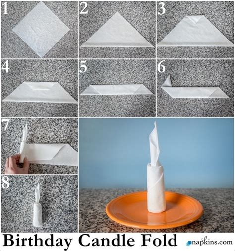 Fancy Paper Napkin Folding Ideas - birthday candles candles and napkins on