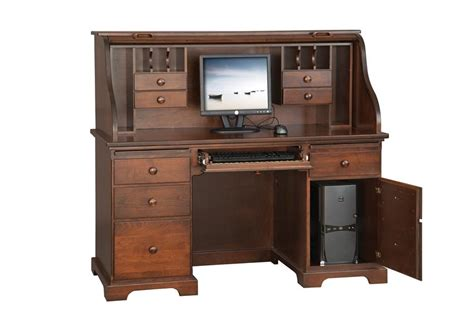 amish 55 quot computer roll top desk