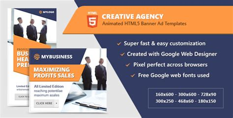 Creative Agency Banners Html5 Animated Ad Templates Gwd By Infiniweb Html5 Animated Website Templates