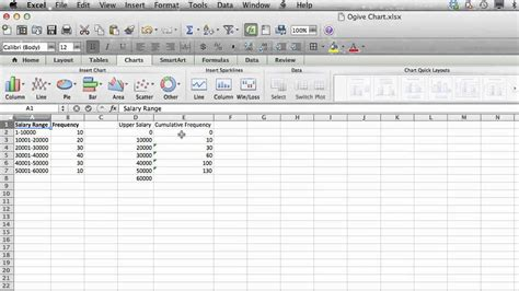 2 4 construct ogive with excel youtube how to make an ogive in excel using microsoft excel