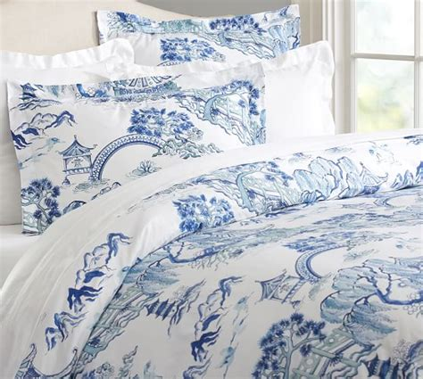 toile bedding darcy toile organic duvet cover sham twilight