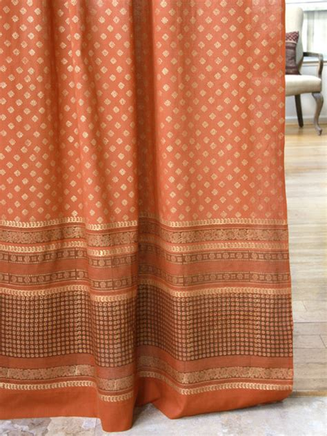 Spice Colored Curtains Orange Valance Burnt Orange Valance Treatment Rust Color Valance Spice Colored Valance Indian Cu