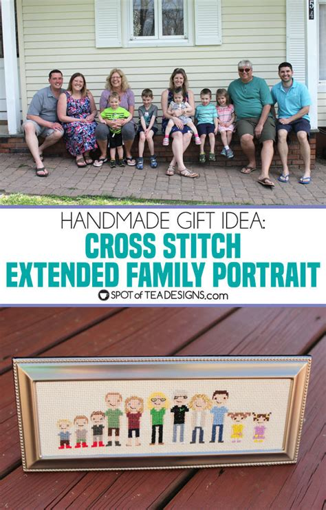 good cheap gifts for extended family handmade gift idea framed cross stitch extended family portrait spot of tea designs