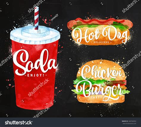 set soda water chicken stock vector 340782053