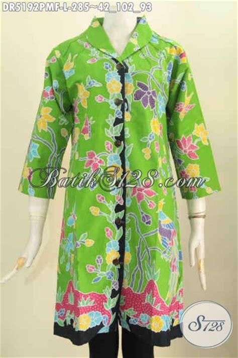 Kemeja Wanita Motif Bunga 287 baju dress batik keren warna hijau motif bunga proses
