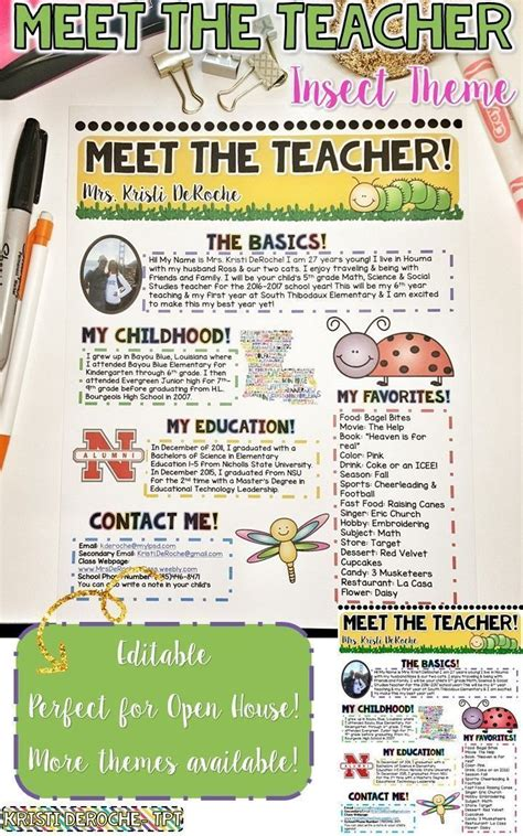 Meet The Teacher Newsletter Editable Insect Theme Teacher Newsletter Open House And Teacher Meet The Newsletter Templates
