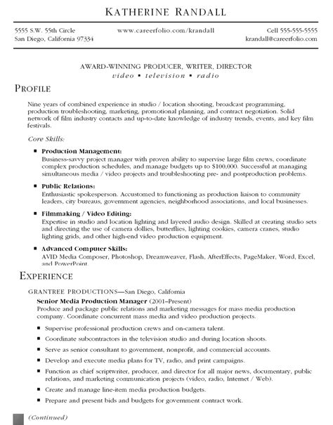 Free Resume Sles Property Management production resume sles 28 images marketing production