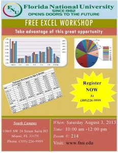 Uf Mba Calendar by Free Excel Workshop At Florida National